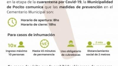 Cementerio Municipal: nuevos horarios y protocolos sanitarios por el COVID-19